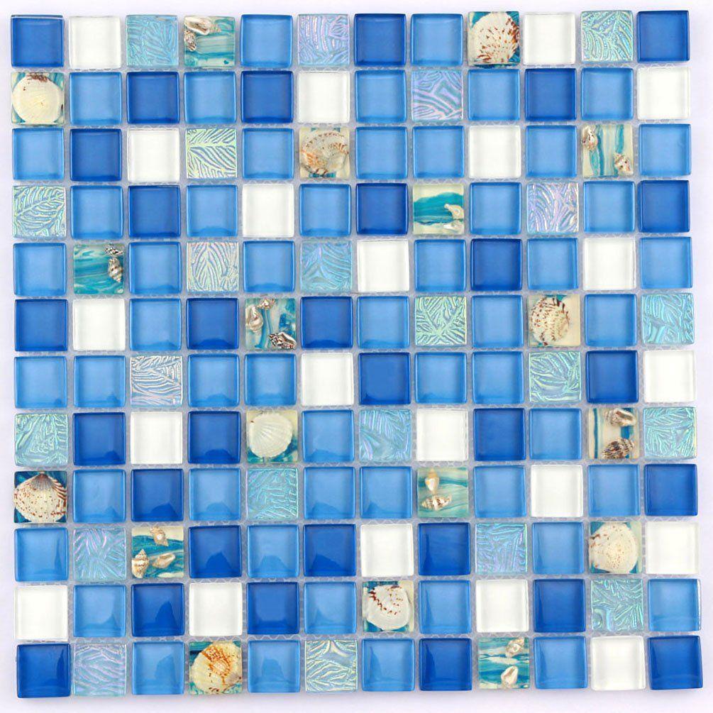 glass mosaic tile ocean blue white sea shell tiles