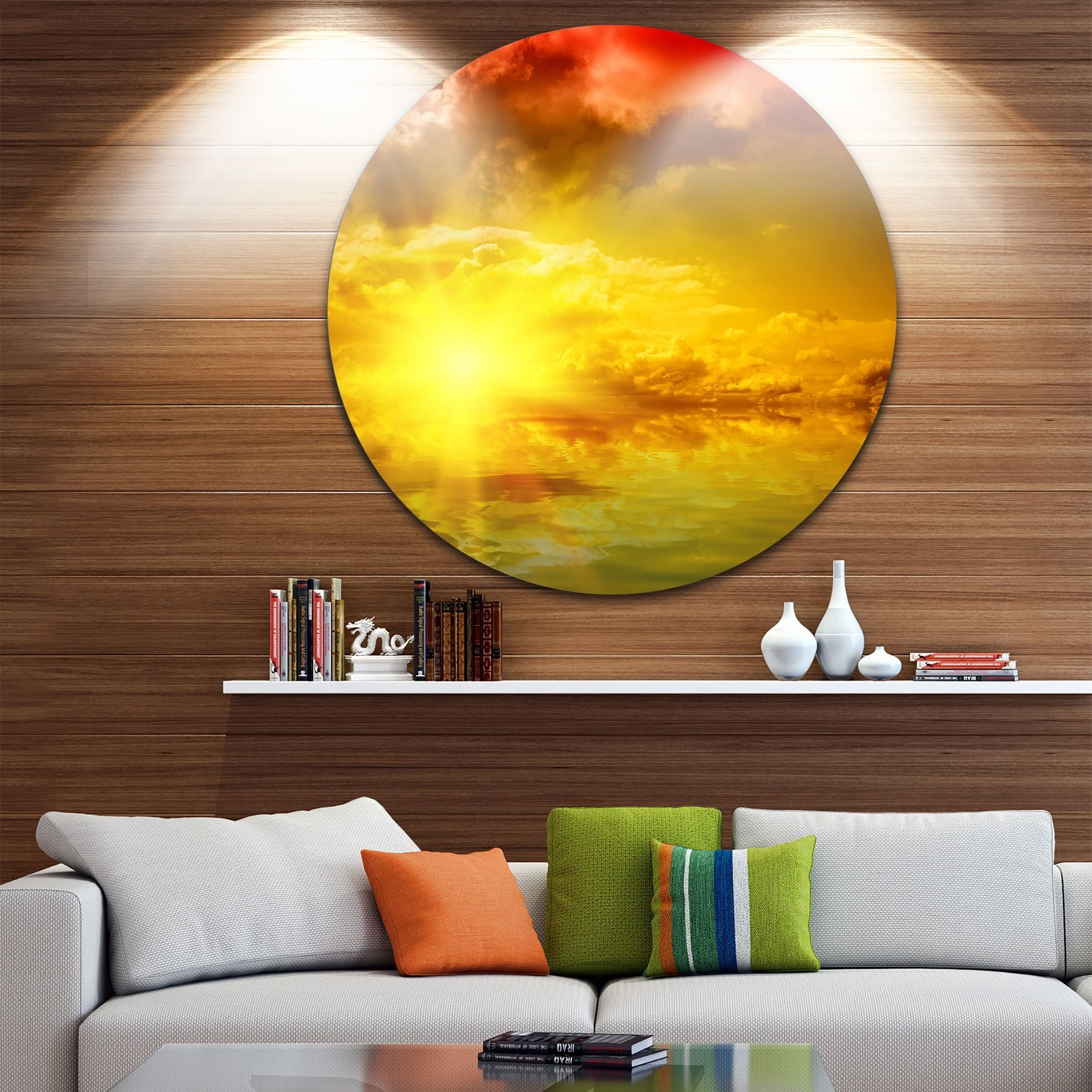 Designart \'Red Dramatic Sky with Yellow Sun\' Landscape Round Wall ...
