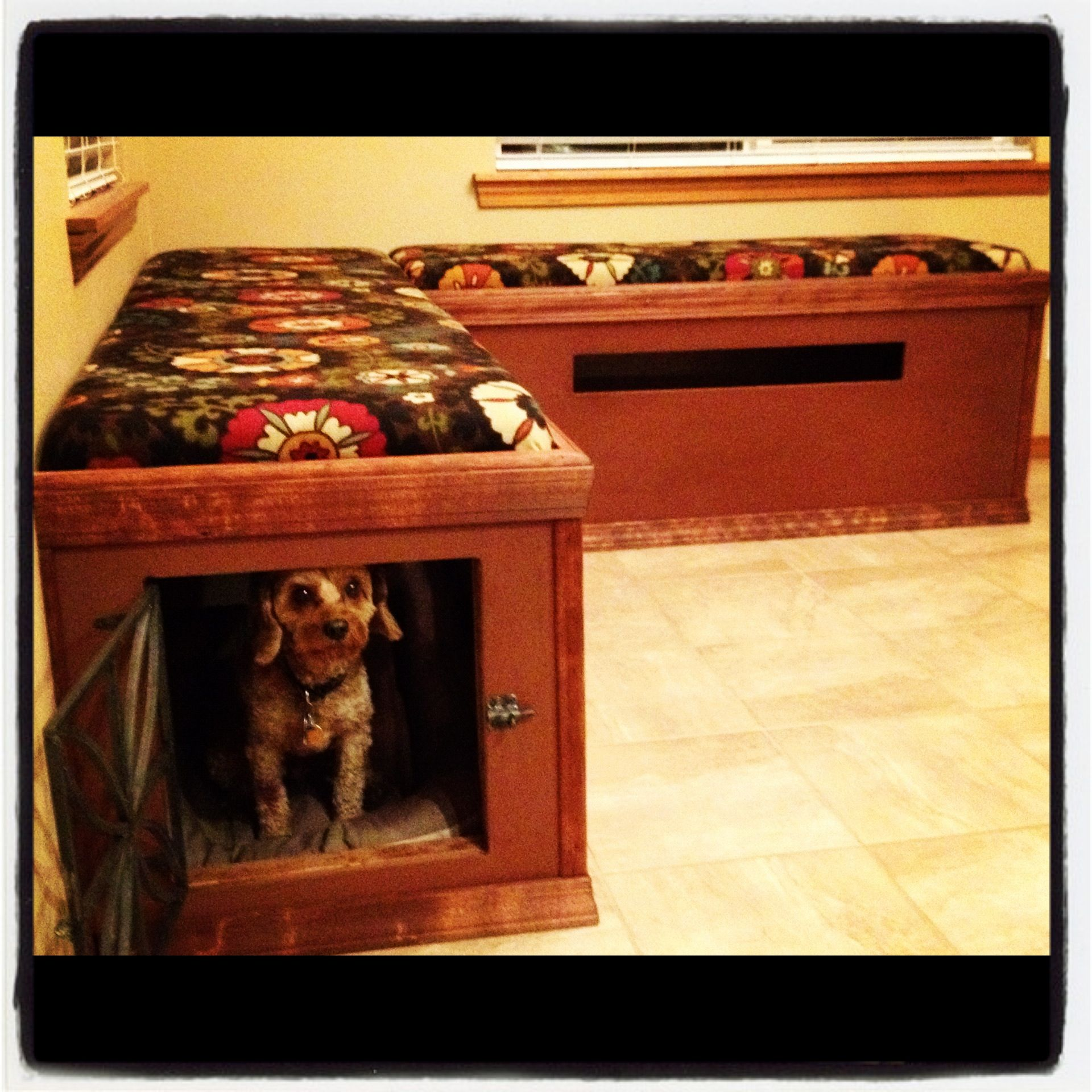 Pin By Megan Vance On Finished Projects Crate Bench Wooden Dog Kennels Dog Bench