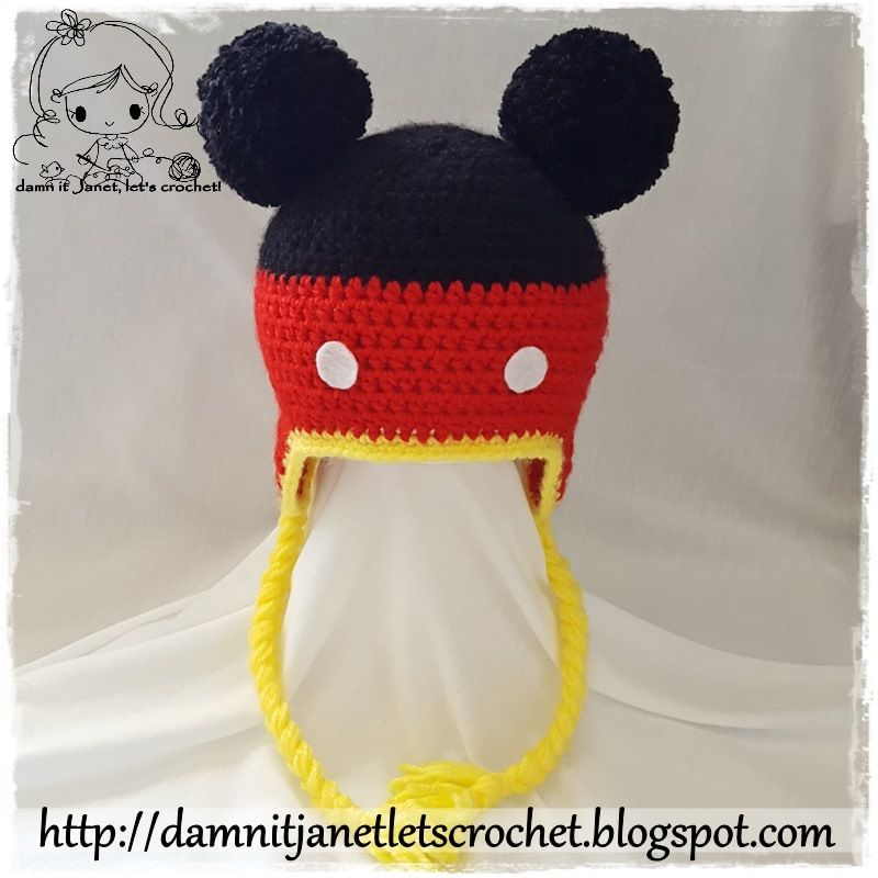 Mickey Mouse Earflap Beanie with Pom-Pom ears (newborn - toddler ...