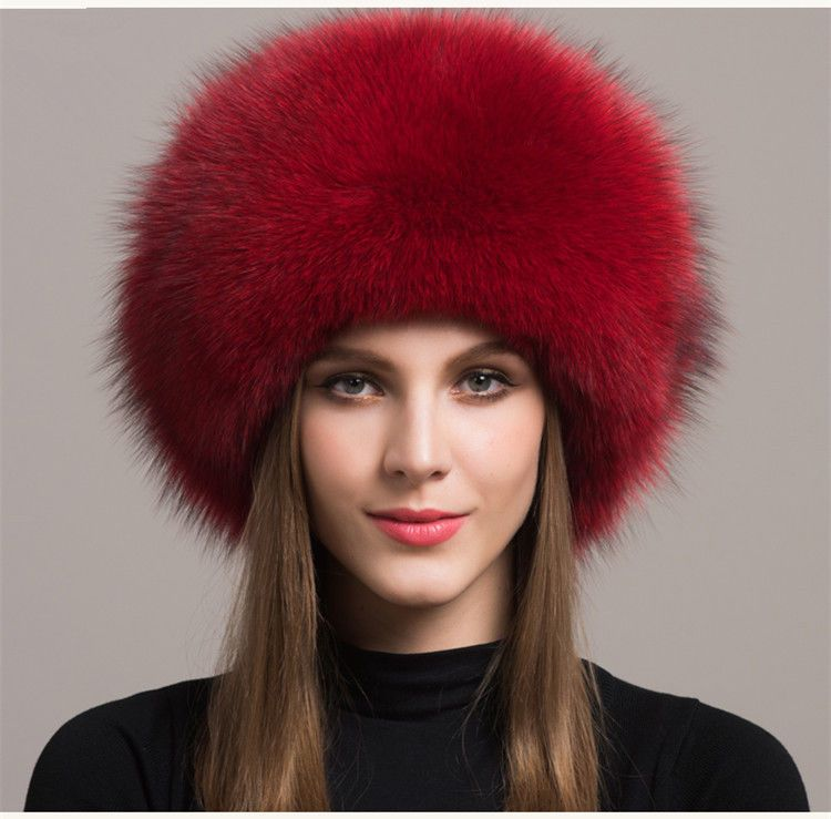 Women Real Red Fox Fur Hat Russian Winter Warmer Ear Cap Ushanka Cossack Ski f535d9196c7f