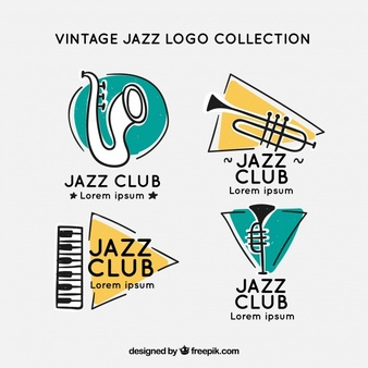 Jazz Logo Collection With Vintage Style Music Logo Design Logo Collection Music Logo
