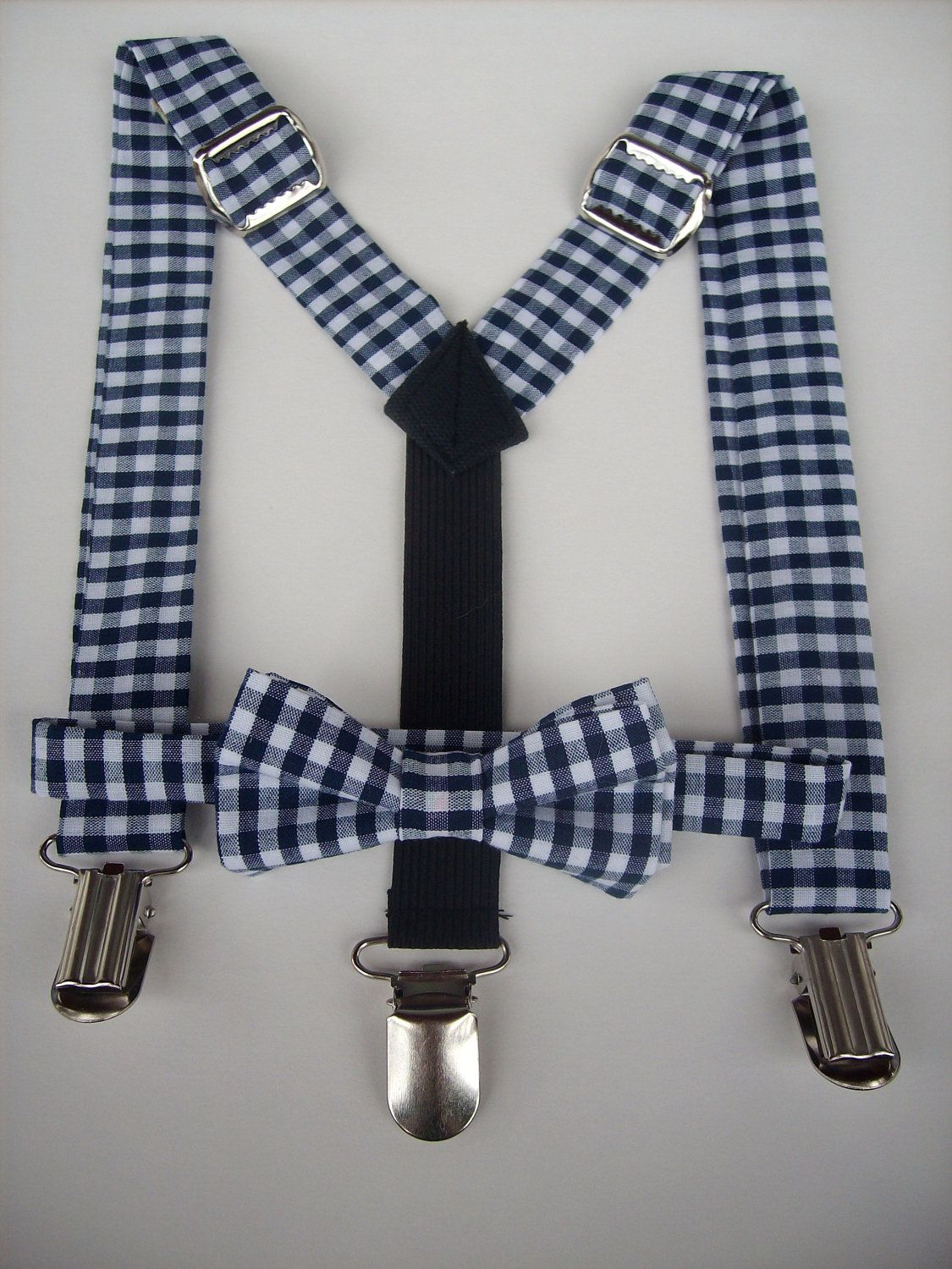 1ce01b544e9b bow tie and suspenders set for toddler boy - navy blue gingham. $35.00, via  Etsy.