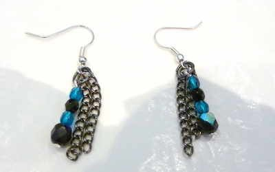 silver plate earrings with chain and czech fire polish beads