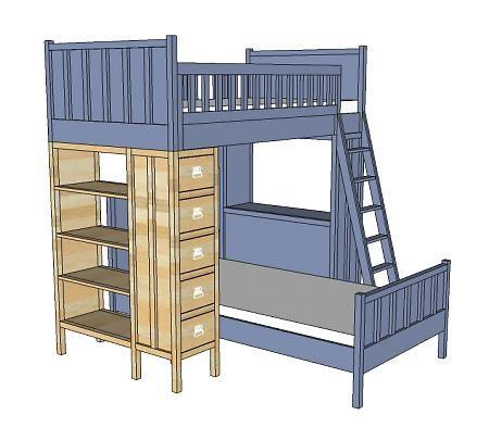 Dresser Bookshelf Support For Bunk Bed Sadie S Room Pinterest