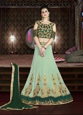 7afea96e39 Designer art silk lehenga with contrast cold shoulder blouse ...