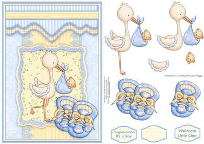 HERE COMES THE BABY New Baby Boy Topper Decoupage on Craftsuprint designed by Janet Briggs - New Baby Boy, card topper with 3d step by step decoupage. A coordinating insert is also available. See multilink below.Features cute stork with baby bundle in a frame and baby bootees.Sentiment tags, include one blank. The others read,Congratulations It's a BoyWelcome Little One - Now available for download!