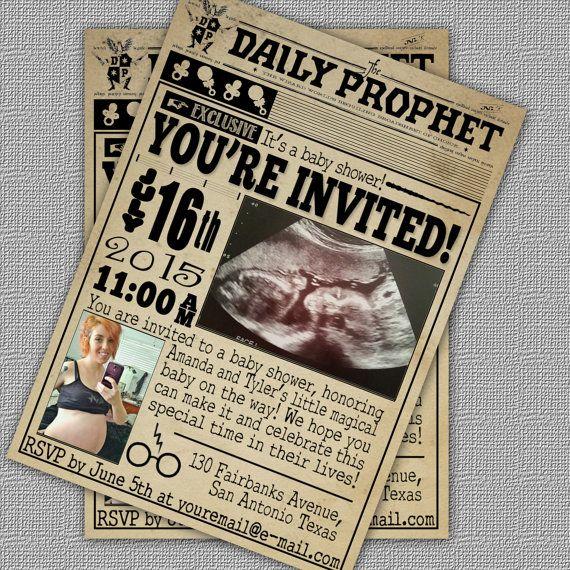 Harry Potter Inspired Daily Prophet Baby Shower Invitation