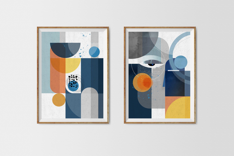 Centurian Set Of 2 Prints Modern Abstract Nature Art Modern Wall Art Abstract Landscape Faces Abstract Cubist Geometric Wall Art In 2020 Geometric Wall Art Abstract Geometric Art Cubist