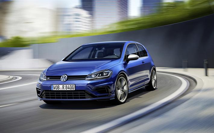 Download Wallpapers 4k Volkswagen Golf R Facelift 2018 Cars Road Blue