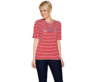 Quacker Factory Nautical Novelty Striped Elbow Sleeve T-shirt