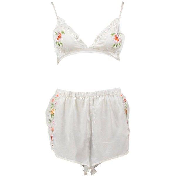 be235ef5303baf Boohoo Holly Boutique Embroidered Bralet + Short Set