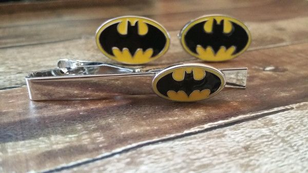 Gift Set - Yellow Bat  Cufflinks and Tie Tack  with Free Gift Box