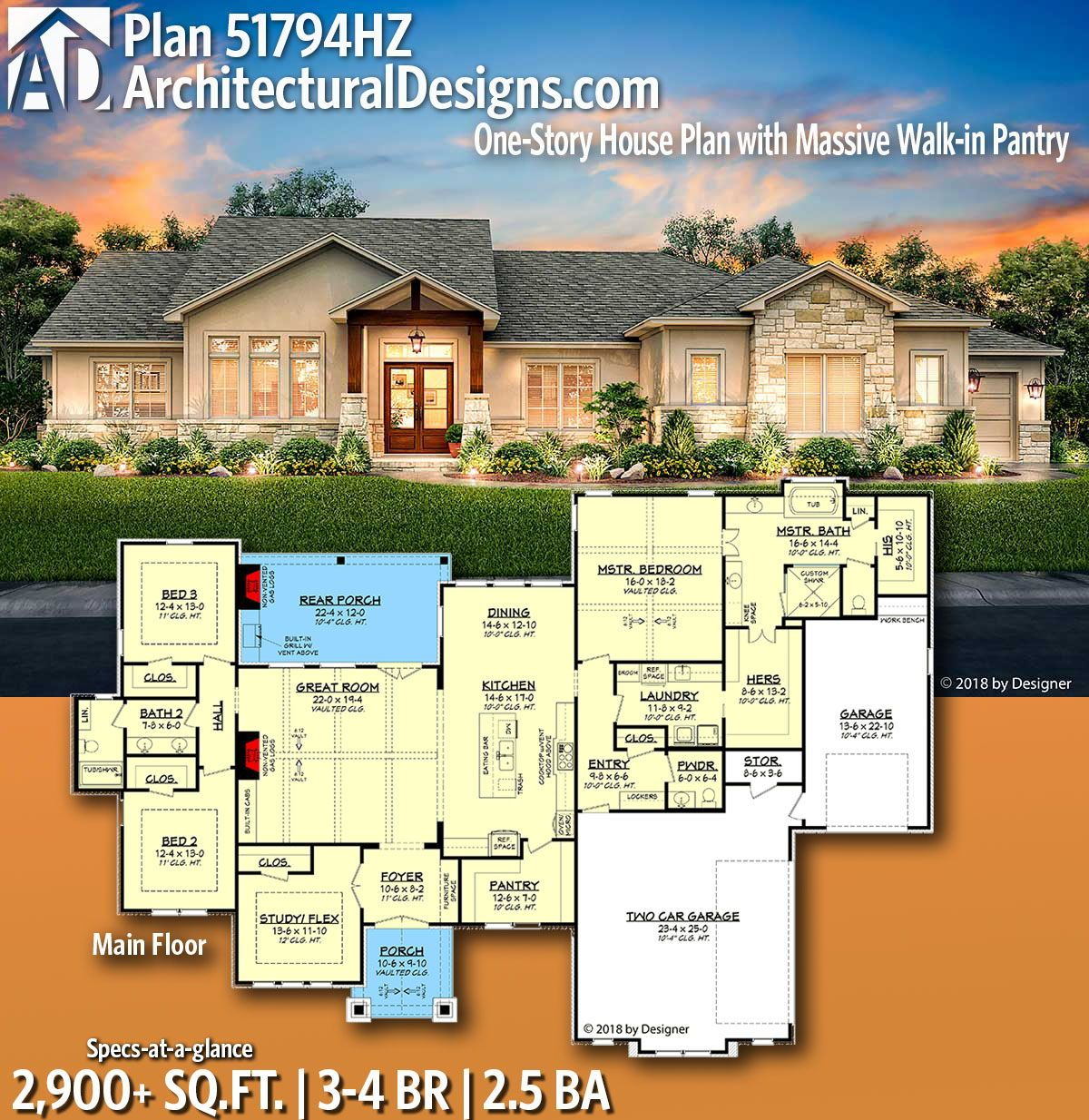 Architectural designs home plan hz gives you bedrooms baths and sq ft ready when are where do want to build also one story house with massive walk in pantry new rh pinterest