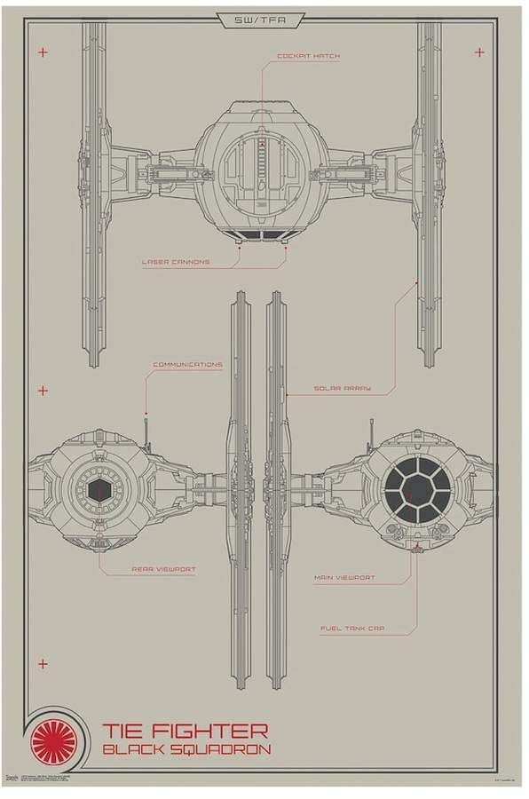 Star Wars: Episode VII The Force Awakens Black Squadron Tie Fighter on tie advanced, tie phantom, y-wing schematic,