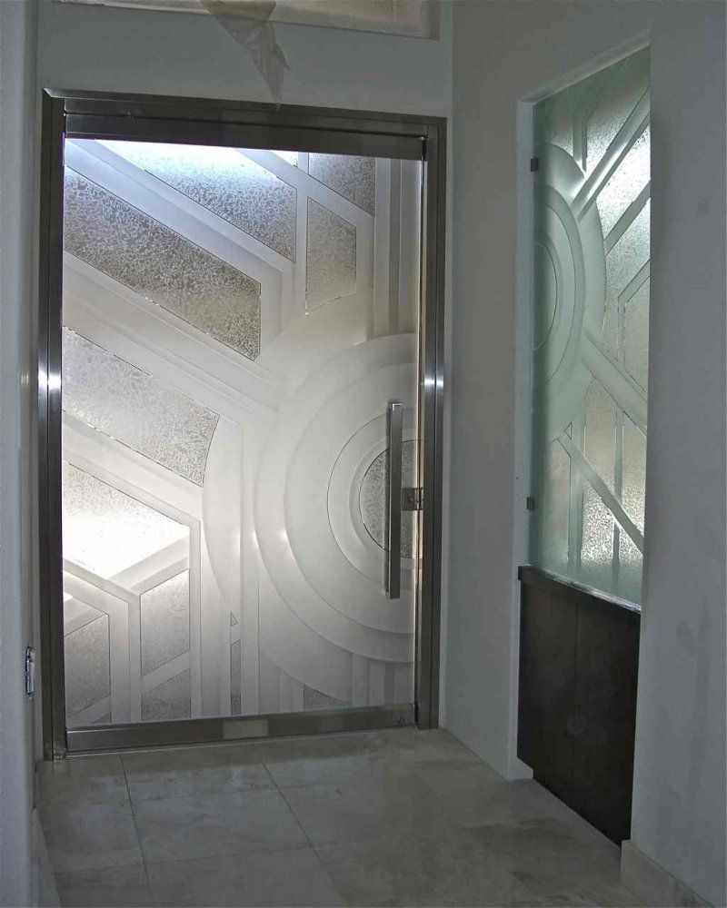 Etched glass doors privacy glass door inserts bamboo pictures to pin - All Glass Frameless Etched Glass Entry