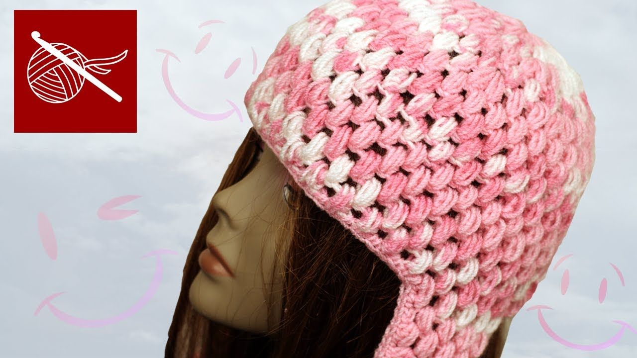 Crochet Puff Stitch Cap with Ear Flaps | Crochet Hats | Pinterest