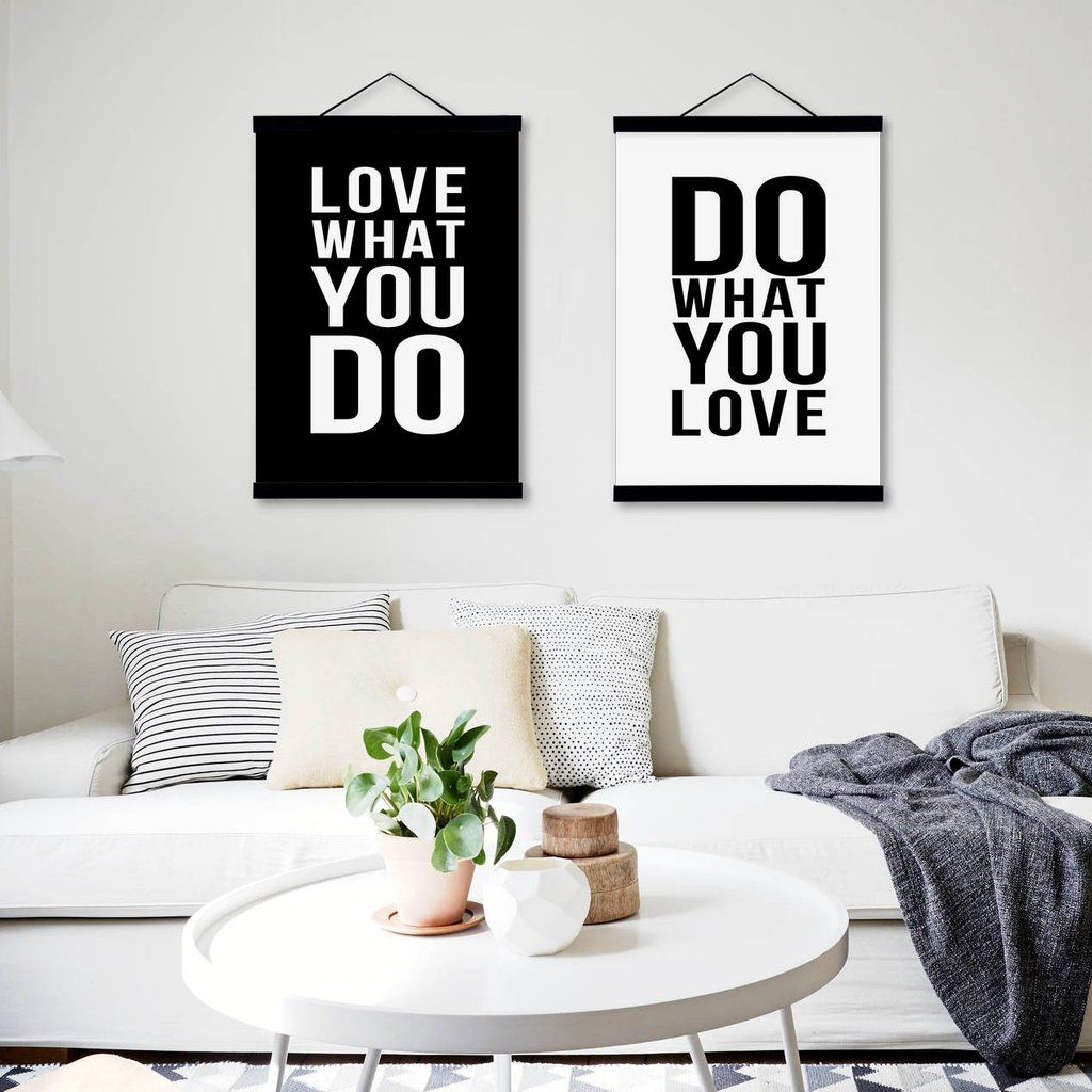 Black white motivational quotes posters print nordic style home