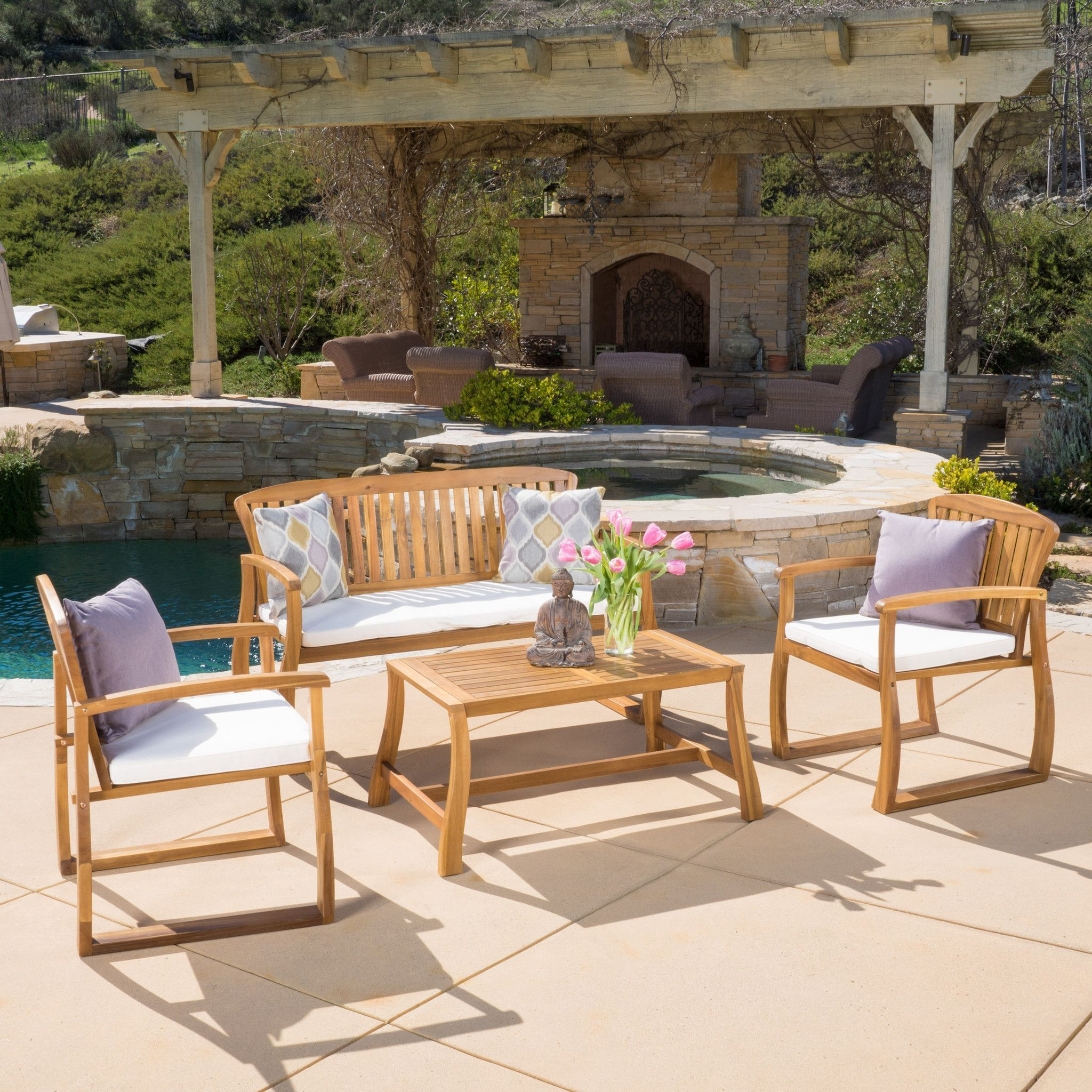 Enza Outdoor 4 piece Acacia Wood Chat Set with Cushions Enjoy the