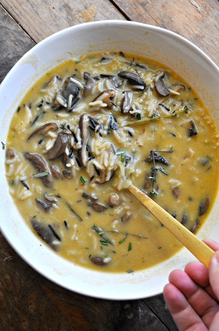 Vegan Creamy Balsamic Mushroom Wild Rice Soup