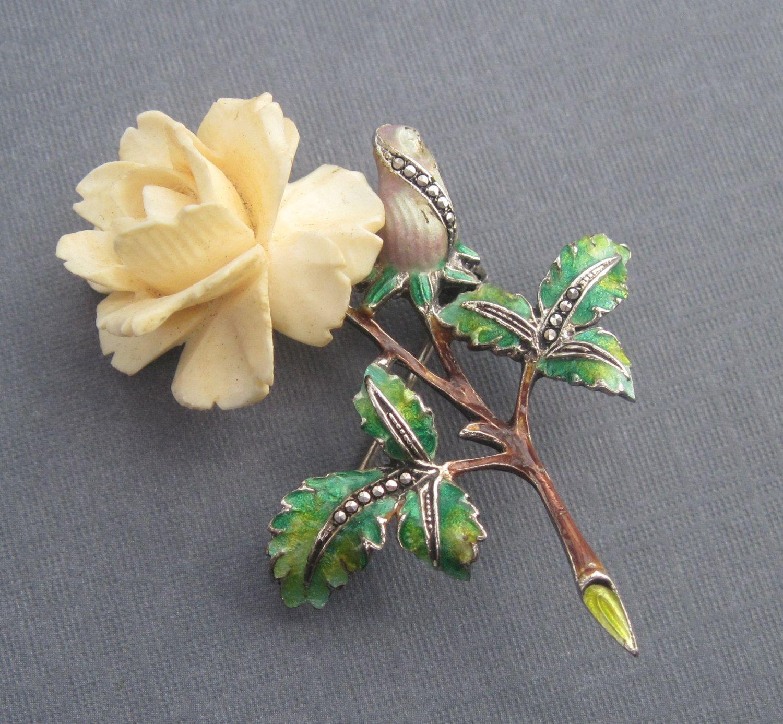 rose pin ivory Vintage