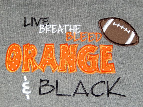 Personalized Appliqued Orange Black Football By Kayleiskloset Football Tshirts Orange Black Football Banner