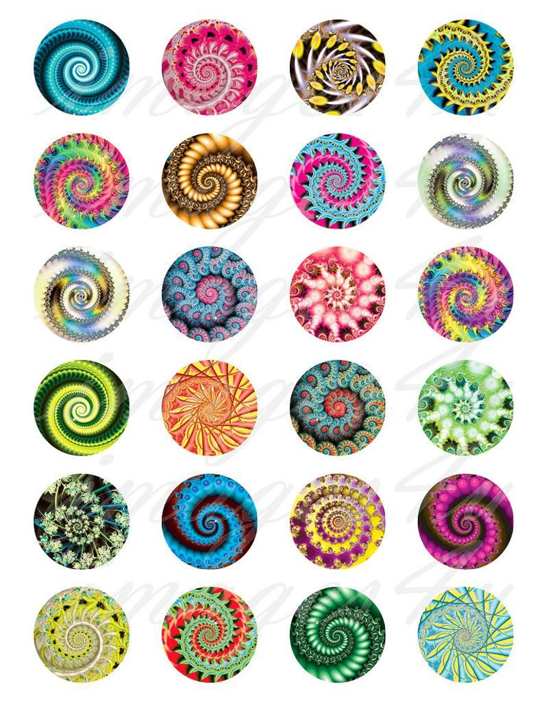 Instant Download Circle Size 30mm 25mm 18mm Printable Images 20mm Fractal Swirls Digital Collage Sheet