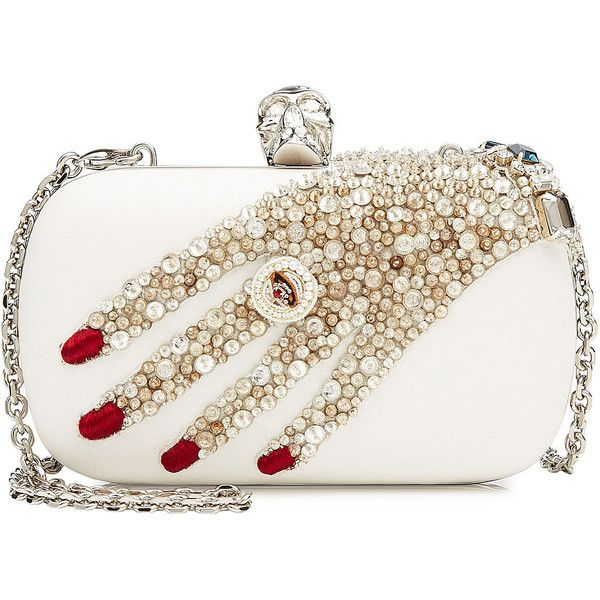 Alexander McQueen Embellished Leather Box Clutch (9.600 NOK) ❤ liked on Polyvore featuring bags, handbags, clutches, borse, white, box clutch, white handbags, hard clutch, leather man bags and leather hand bags