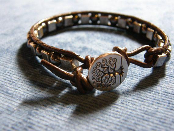 Unisex Magnetite and Pewter Wrap Bracelet by Blackberrygardens, $25.00