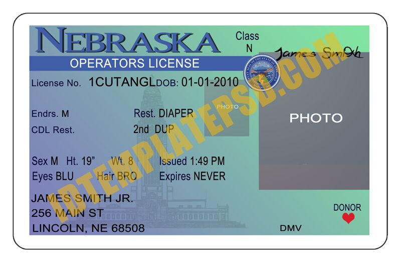 This Is Nebraska Usa State Drivers License Psd Photoshop Template On This Psd Template You Can Put Any Name Addres Drivers License Doctors Note Templates