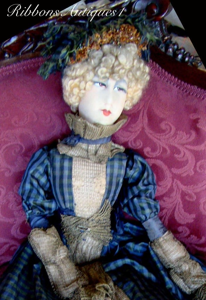 This very beautiful and rare French artist's boudoir doll dressed in period…