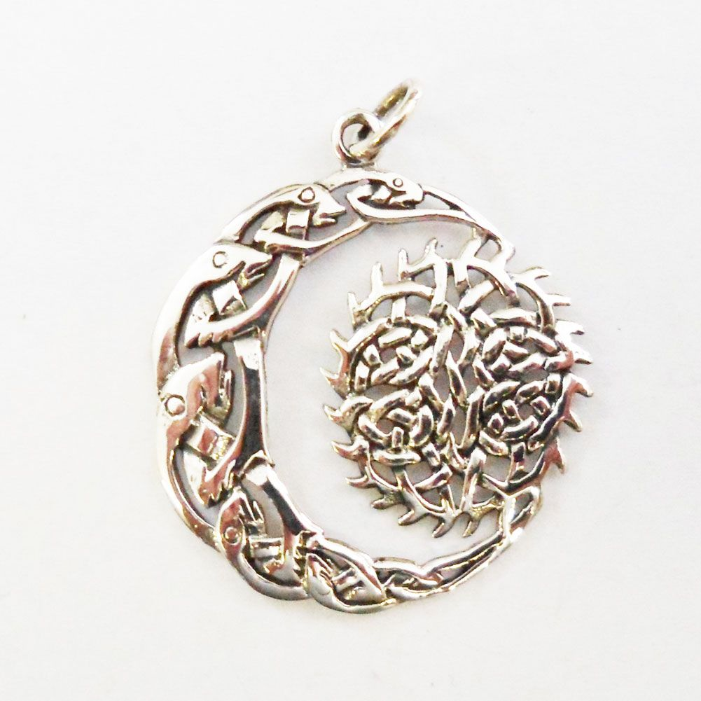 Sterling silver celtic moon and sun pendant tattoos pinterest sterling silver celtic moon and sun pendant aloadofball Image collections