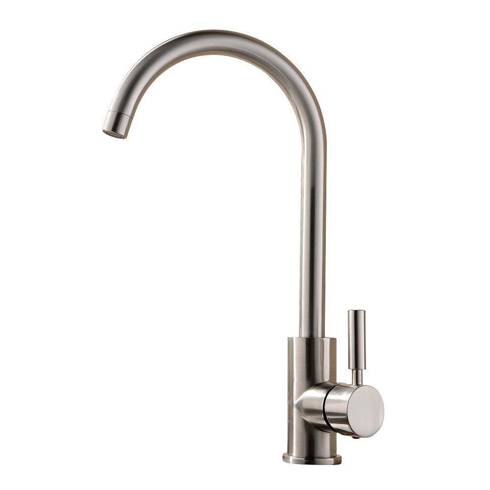 Comllen best commercial brushed nickel stainless steel single handle kitchen sink faucet single lever kitchen faucets amazon com