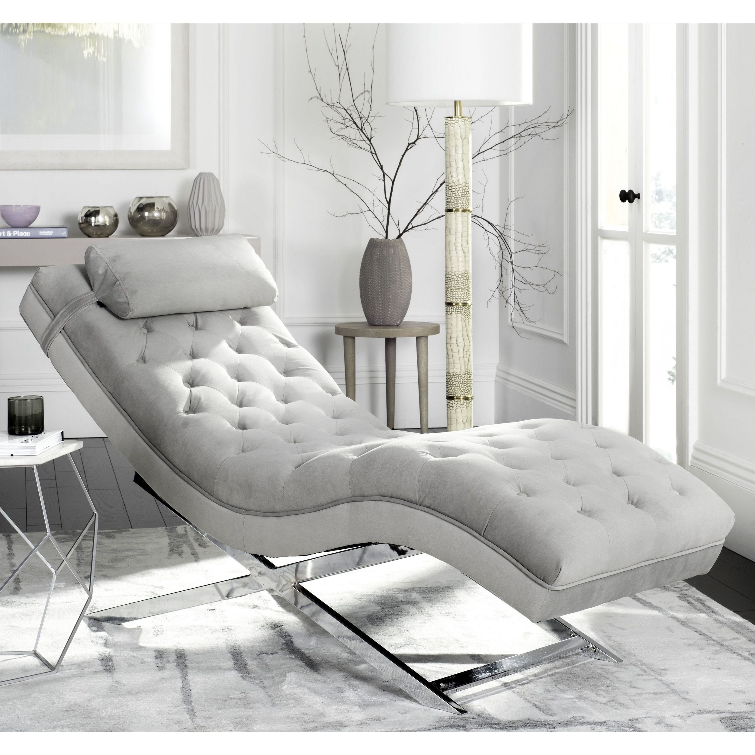Chaise Longue Design Outlet.Safavieh Monroe Grey Chaise Fox6286c Fabric Products