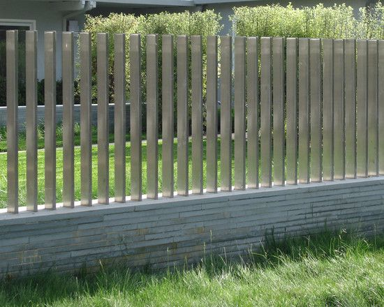 Pool fence design pictures remodel decor and ideas page 10 el stainless steel slat fence on a brick or stone short wall woodside residence suzman design associates workwithnaturefo
