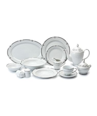 Love this Black Rim 57-Piece Porcelain Dinnerware Set by Lorenzo Imports on #zulily! #zulilyfinds