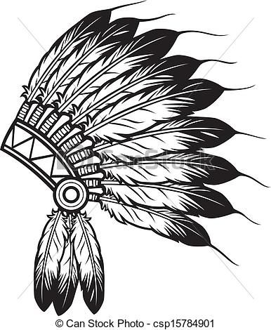Vector Clipart of indian chief headdress - native american ...