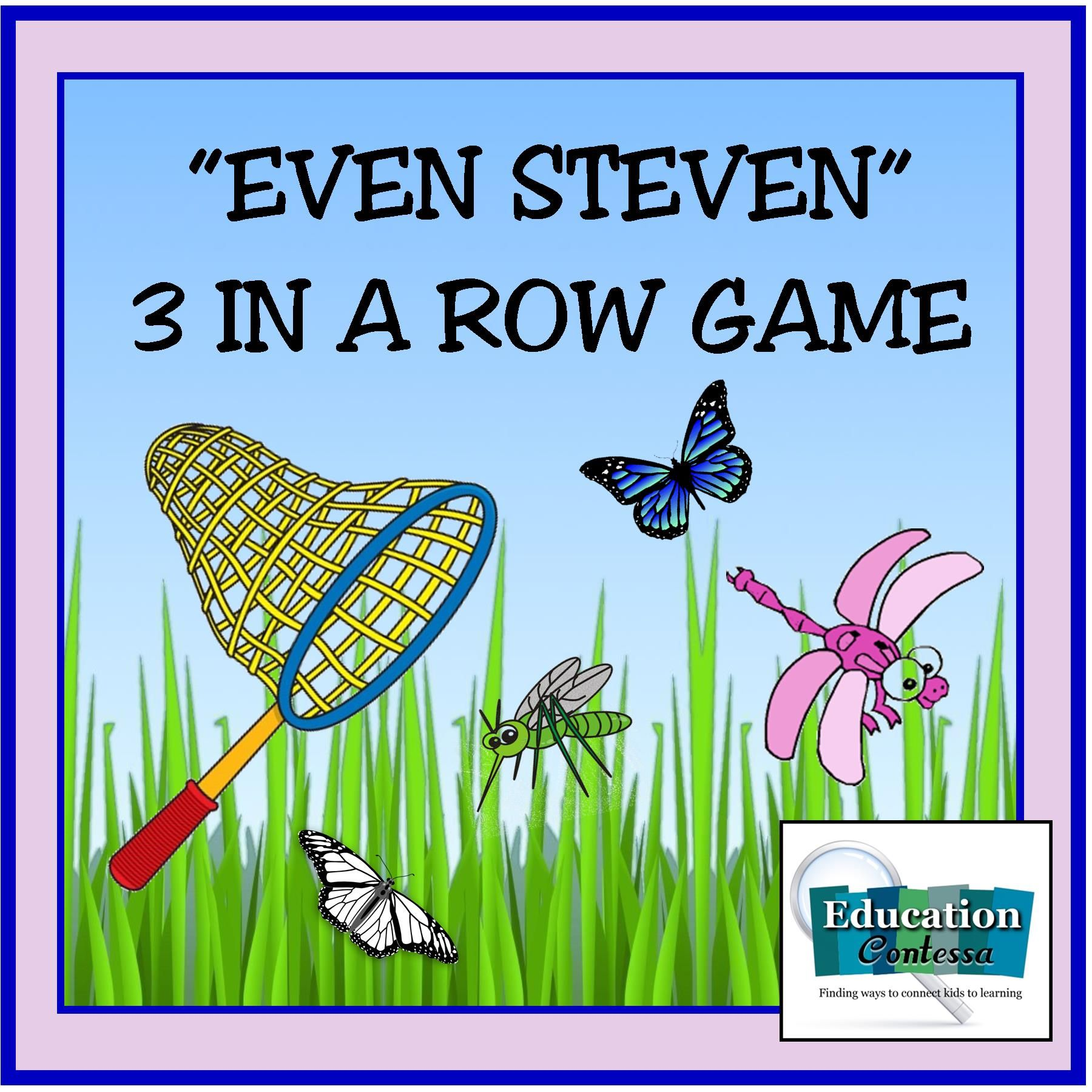 EVEN STEVEN 3 IN A ROW CARD GAME FOR COUNTING BY 2's