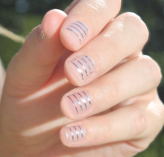 Silver Stripes Transparent Nail Wraps by SoGloss on Etsy | Nails ...