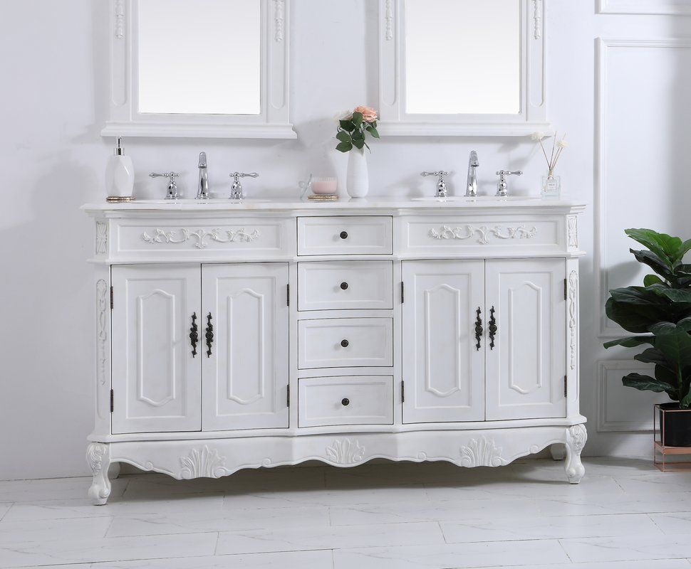 Anzavia 60 Double Bathroom Vanity Set Double Vanity Bathroom Bathroom Vanity Victorian Style Bathroom