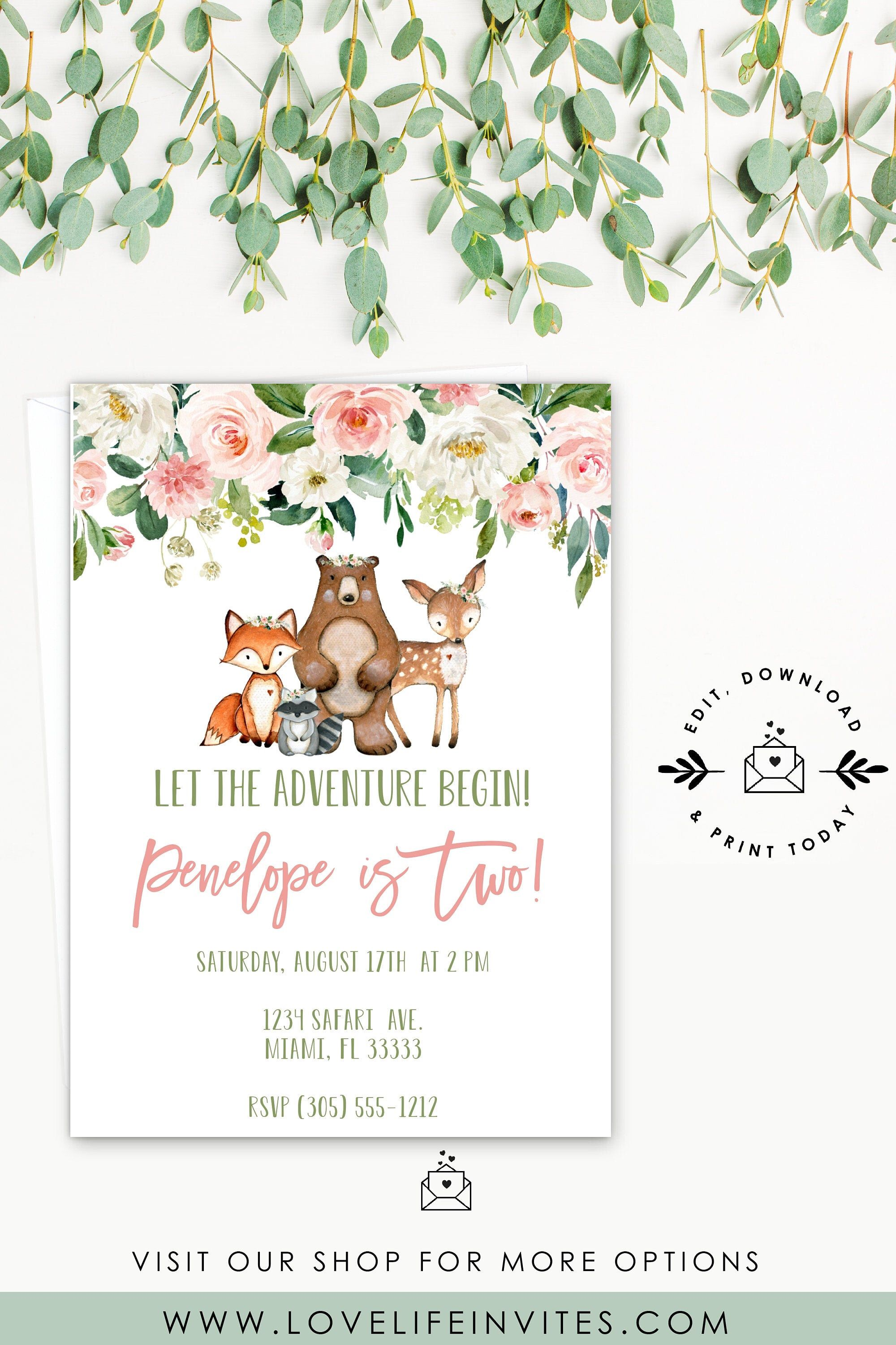Excited To Share The Latest Addition To My Etsy Shop Woodland Birthday Invitati Woodland Invitation Birthday Woodland Creatures Birthday Woodland Invitations