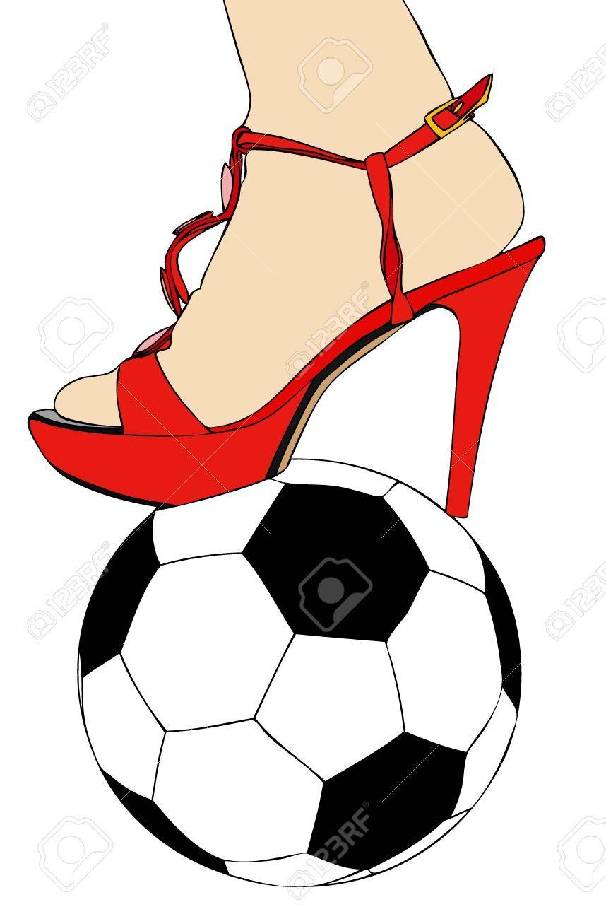Mujer con el pie sobre el balón adae6a807cef7