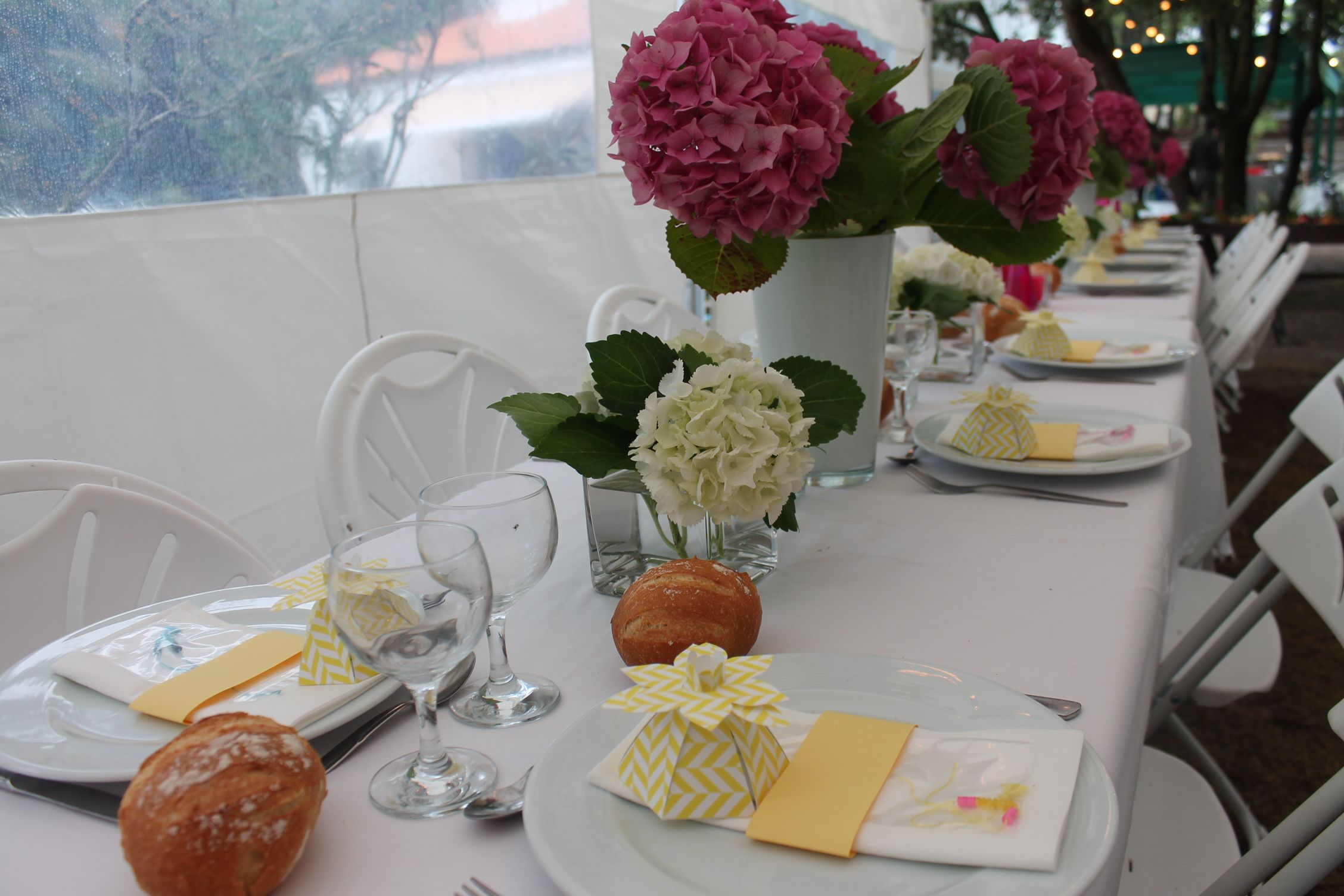 Ortensia, Fuschia, yellow flavor box from paperpresentation.com, Baptism, wedding