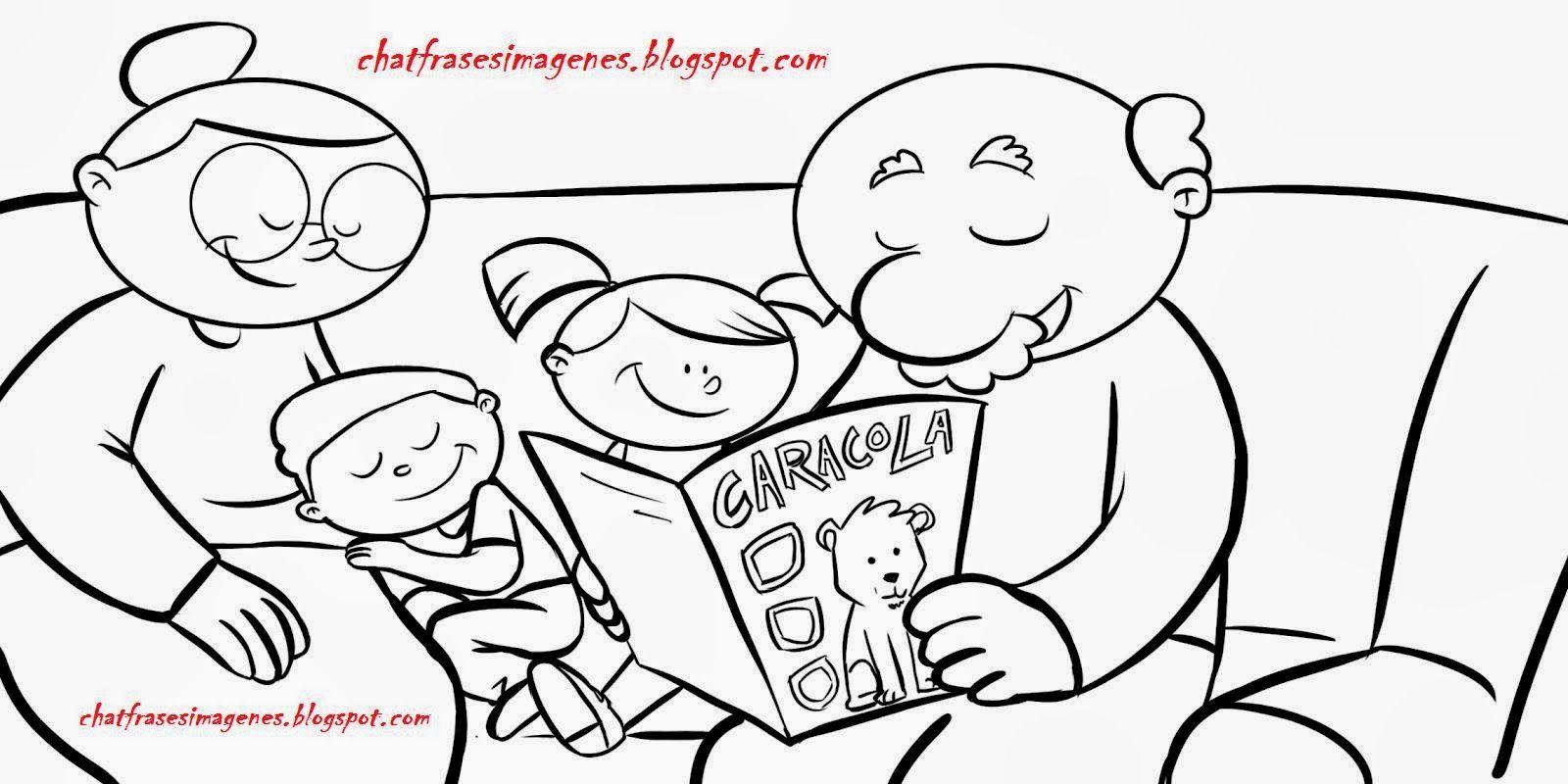 familia con abuelos para colorear - Buscar con Google | Caricatura ...
