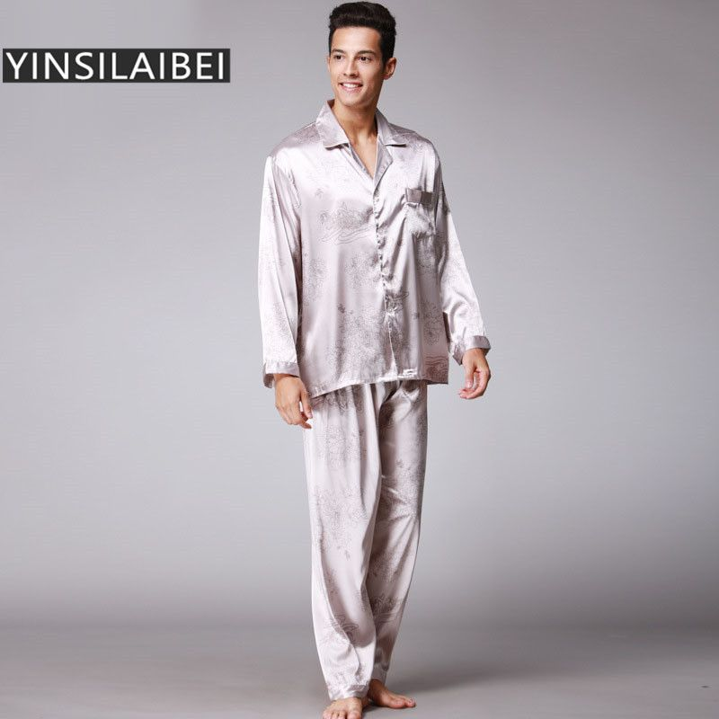 4cb32aa7b6 2pcs/Set Winter Faux Silk Pajamas Men Sexy Male Pajamas Long Sleeve ...