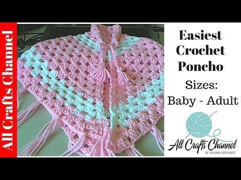 Easiest Crochet Poncho - baby - Adult sizes. Pancho en crochet