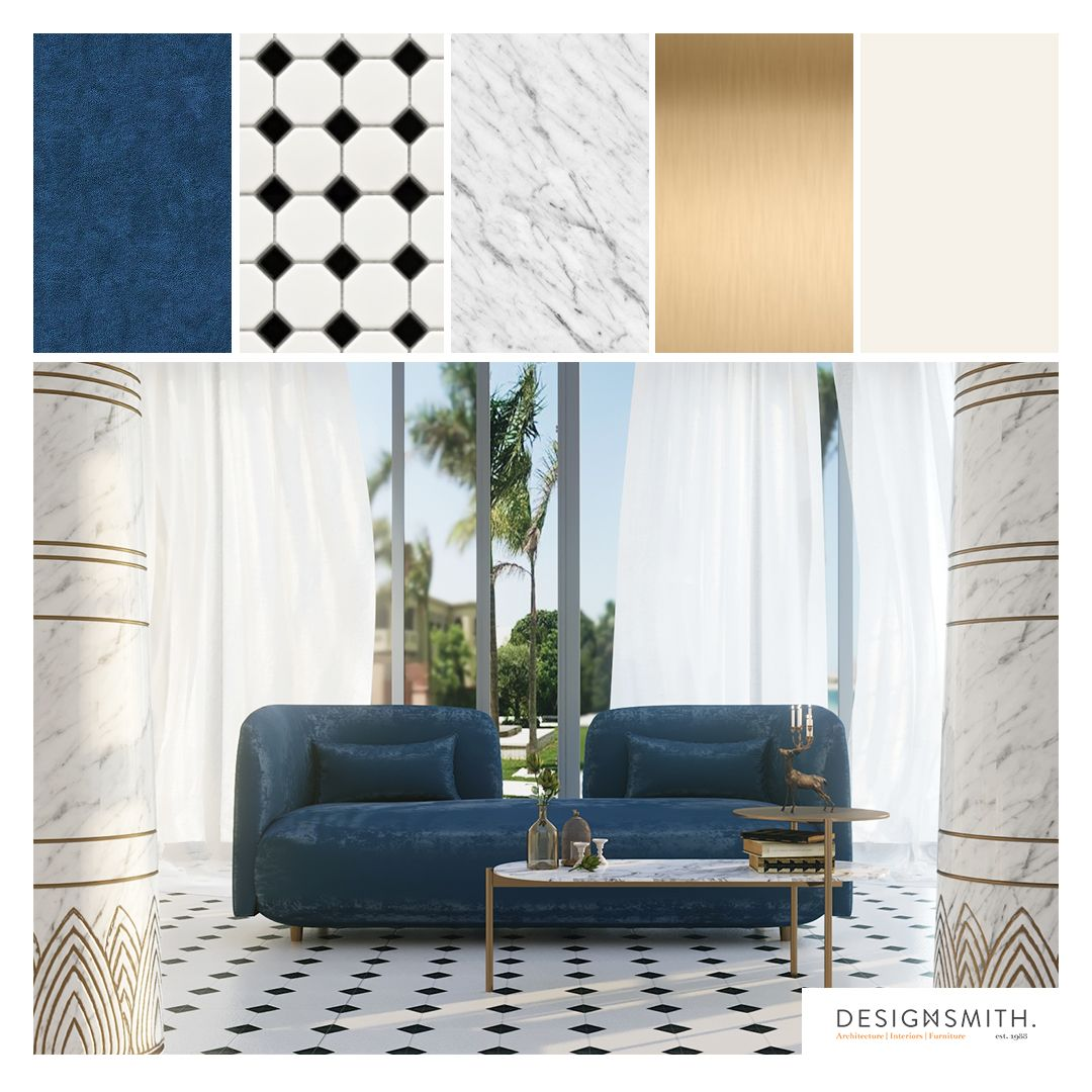 Stunning Living Room Palette With Teal Blue Velvet Sofa Carrara Marble And Antique Brass Accent Which R In 2020 Blue Velvet Sofa Living Room Designs Living Room Decor