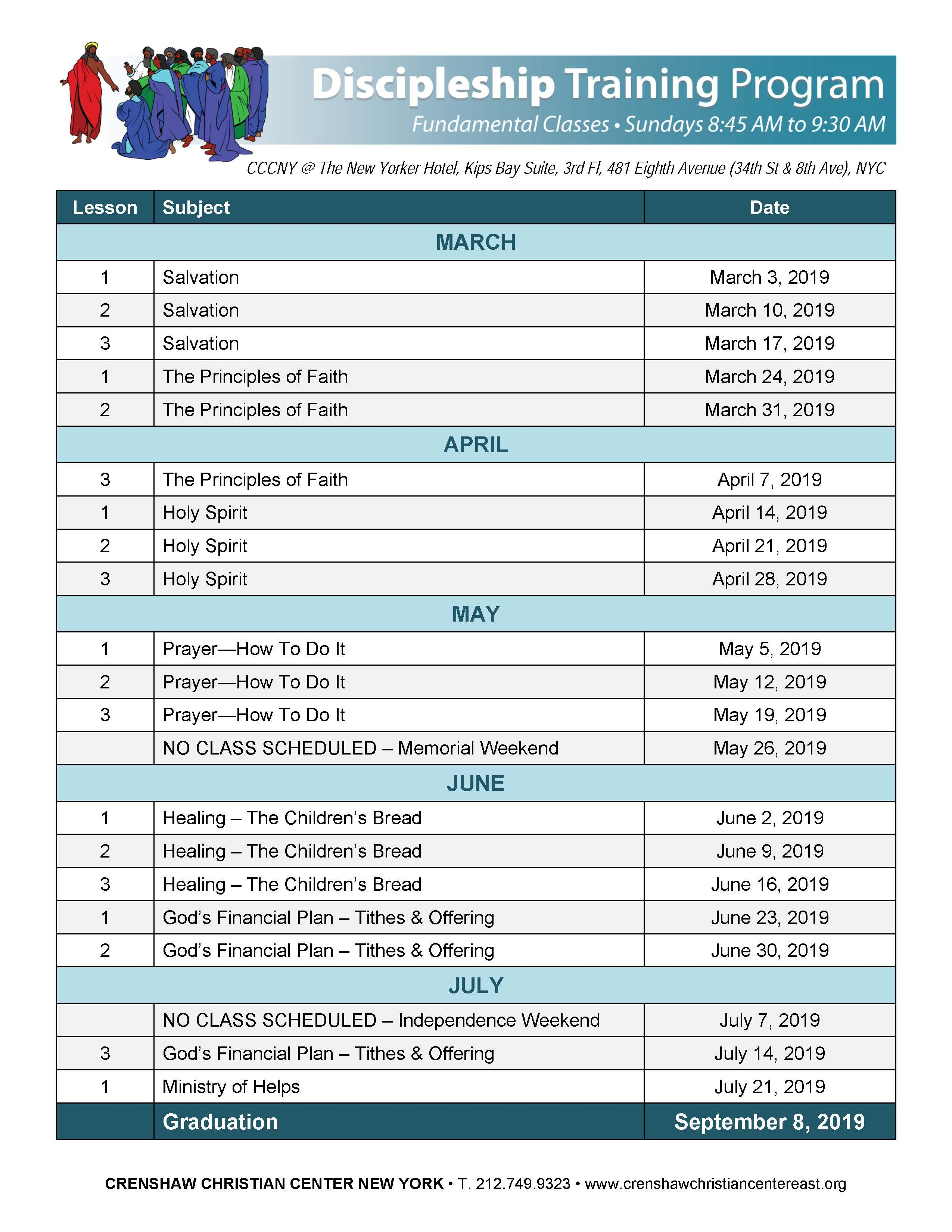 Ccc Calendar 2019 CCC New York 2019 Discipleship Training Program   CCC New York