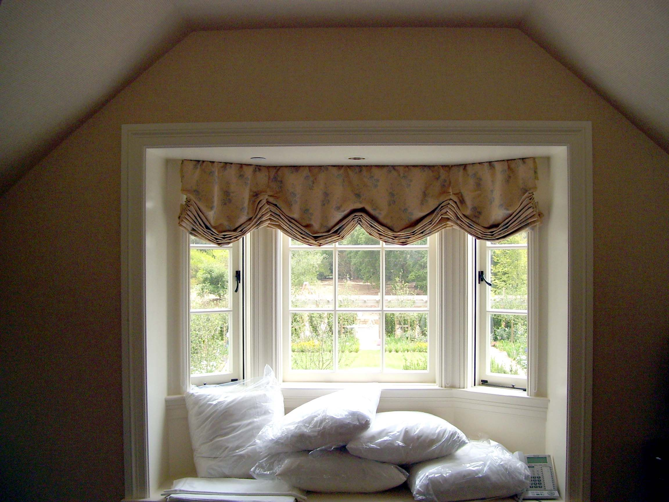 Kitchen Bay Window Treatments Portable Island With Seating Roman Shades Shade Cornice Box Silhouette Custom