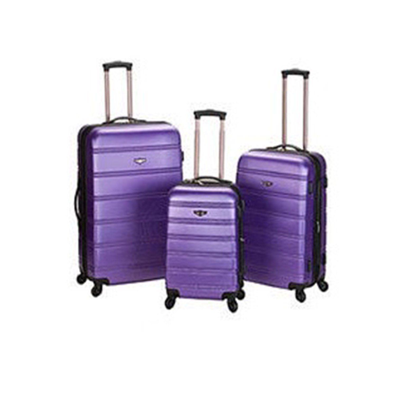 Medium Purple Lightweight Wheeled Briefcase Solid Pattern Hard Shell Design